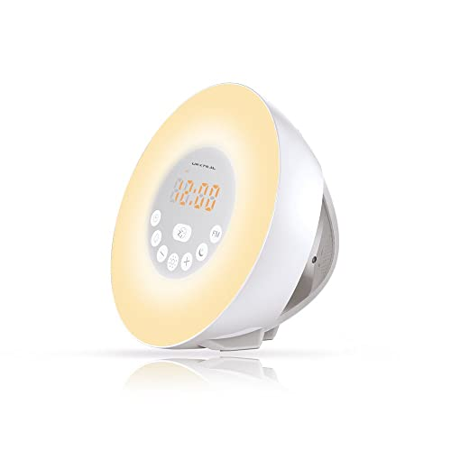 URXTRAL Wake Up Light Wake Up Light, Wake Up Lights, Sunrise Simulation Wake-Up Wake Up Lights Sunrise Alarm Clock, Wake Up Light, Nature Sounds FM Radio, 7 Colors / 10 Brightness, Touch Control Sunset & Snooze