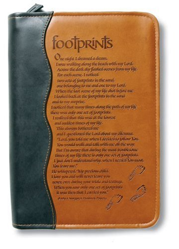Italian Duo-Tone Footprints Medium-Size Book/Bible Cover