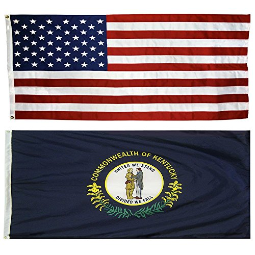 US Flag with Kentucky State Flag 3 x 5 - 100% American Made