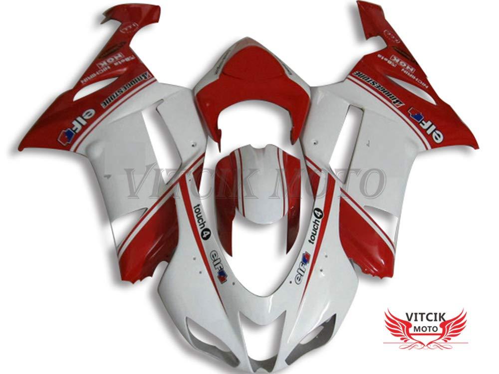VITCIK (フェアリングキット 対応車種 カワサキ Kawasaki ZX6R ZX-6R Ninja 636 2007 2008 ZX6R ZX-6R Ninja 636 07 08) プラスチックABS射出成型 完全なオートバイ車体 アフターマーケット車体フレーム 外装パーツセット(ホワイト & レッド) A034   B076M3TLHQ