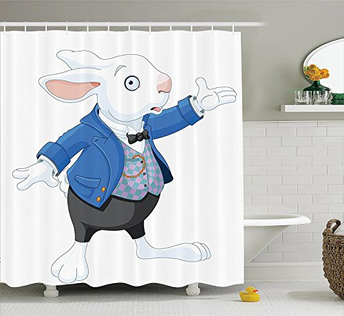 [Alice in Wonderland Decorations Collection White Rabbit Talking Fiction Fantasy Alice Decor Illustration Polyester Fabric Bathroom Shower Curtain White Blue] (Alice In Wonderland Halloween Costumes Ebay)