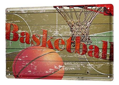 Tin Sign Retro Deco basketball hoop 8X12