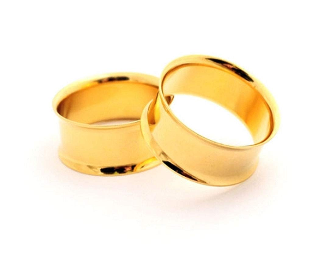 nugroho_mys Pair of Gold Steel Double Flare Tunnels Set gauges (1 1/8'' - 28mm) by nugroho_mys
