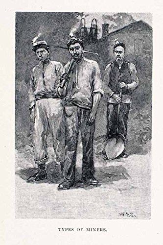 Coal Mining Costume (1891 Wood Engraving Lota Chile Coal Miners Costume Chilean Chilenos Mining - Original In-Text Wood Engraving)