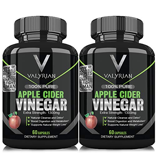 100% Natural Raw Apple Cider Vinegar Pills, 2 Bottles, Potent 1300 mg Pure Apple Cider Vinegar Capsules for Bloating Relief, Weight Loss Detox, Appetite Suppressant and Weight Management ACV Capsules