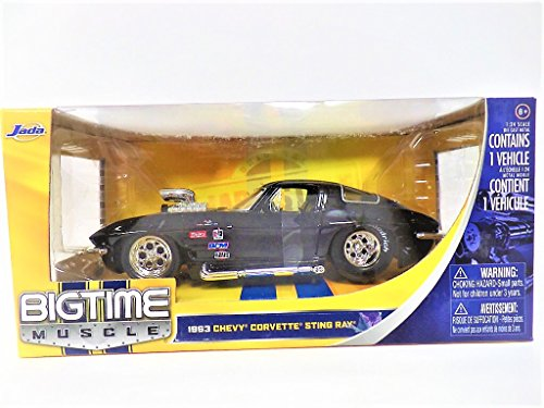 1963 CHEVY CORVETTE STING RAY with Blown Engine - Black Color Sport Wide Rear Tires - JADA 1:24 BTM