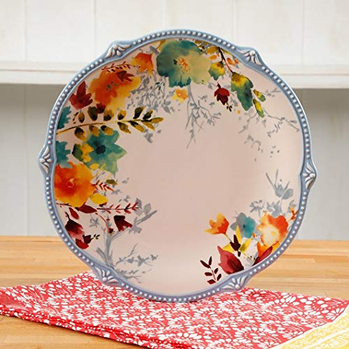 10.75-Inch Willow Dinner Plate in Joyous Floral Design, Set of 4 ()