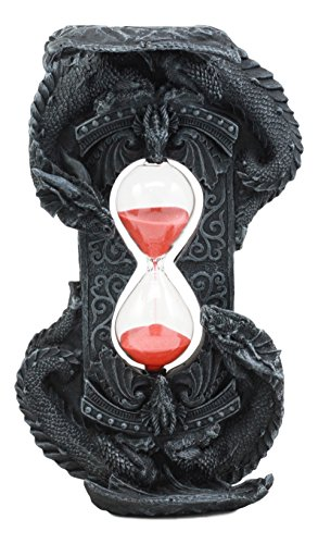 (Ebros Invertible Chronos Gothic Twin Dragons Sand Timer Figurine Dragon Hourglass Shaped Sandtimer Sculptural Decor 8