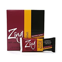 Zing Nutrition Bars, Cashew Cranberry Orange, 12 pk 1.76 oz