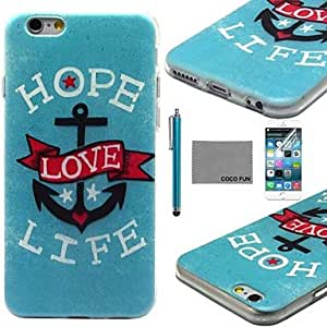 WQQ Love Anchor Pattern Soft TPU Back Case Cover with Screen Protector and Stylus for iPhone 6