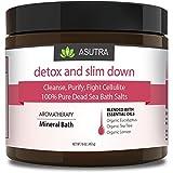 "detox bath salts - ""DETOX & SLIM DOWN"" - 100% Pure Dead Sea Bath Salts / Cleanse, Purify & Fight Cellulite / Rich In Vital Healing Minerals / Organic Essential Oils of Eucalyptus, Tea Tree and Lemon - 16oz"