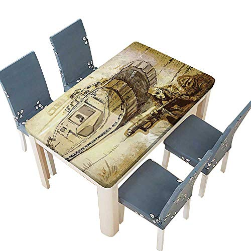 PINAFORE 100% Polyester Luxury Tablecloth War Tank and Siers with Gas Mask on Paper Back Attack Battle Theme Brown Resistant and Waterproof Tablecloths W25.5 x L65 INCH (Elastic Edge)