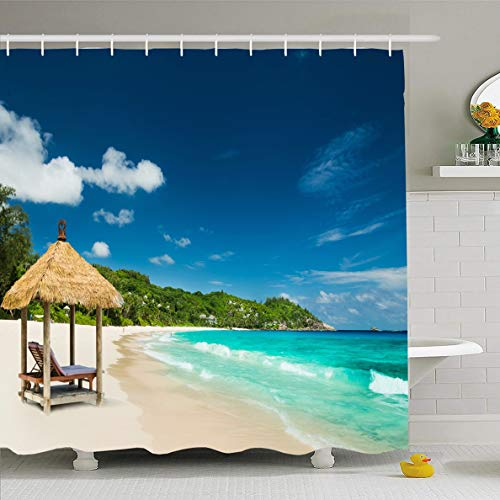 Ahawoso Shower Curtain 60x72 Inches Turquoise Carribean Beach Roof Sea Parks Luxury Island Tropic Seychelles Hut Design Travel Waterproof Polyester Fabric Bathroom Curtains Set with ()