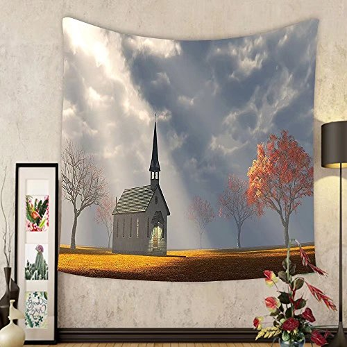 Gzhihine Custom tapestry Christian Wall Decor Small Church Trees View Silky Satin Tapestry for Living Room Bedroom Dorm Orange White Gray by Gzhihine
