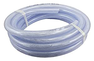 "Duda Energy HPpvc050-025ft 25' x 1/2"" ID High Pressure Braided Clear Flexible PVC Tubing Heavy Duty UV Chemical Resistant Vinyl Hose"