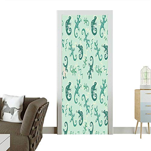 Homesonne Modern Art Door Sticker African Exotic Lizards and Chameleons Leaping Illustration Nature Gift Reptiles Nursery Gr Environmentally Friendly decorationW31 x H79 -