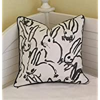 Athena Bacon Groundworks Bunny Hutch Print in Black on Both Sides Designer Pillowcase Cover with Choice of Piping Color Square Lumbar
