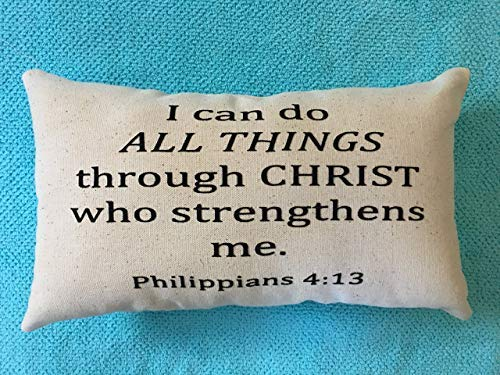 alerie Sassoon I Can Do All Things Philippians 4:13, Scripture, Christian, Lumbar 16x24 Pillowcase Pillow Cover, Black Canvas Beige, Inspiration, Hope, Plans, Home Decor