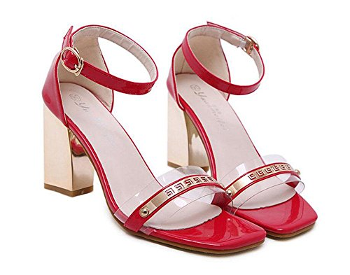 Open Splicing Metal Ankle Heeled Transparent Heels Shoes Pumps The Shoes Red Court Pumps GLTER High Plastic Sandals Women Toe Square Hollow Head Strap 4Z7nATw5x