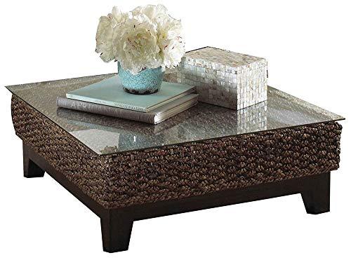 Panama Jack PJS-1001-ATQ-CT Sanibel Glass Coffee Table, 13.5