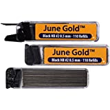June Gold 330 Lead Refills, 0.5 mm HB #2, Fine Thickness, Break Resistant Lead with Convenient Dispensers