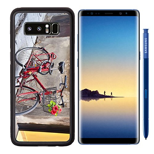 MSD Premium Samsung Galaxy Note8 Aluminum Backplate Bumper Snap Case IMAGE 12041176 Retro bike in red with a bouquet of flowers in the basket