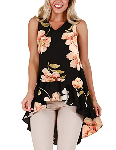 Blooming Jelly Womens Sleeveless V Neck Floral Shirt Blouse Irregular Ruffle Hi Low Hem Tunic Summer Tops(L, Black)