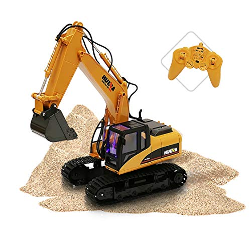 Excavator Diecast Collectible - ToyThrill Remote Control Excavator - Fully Functional 15 Channel Die-Cast Construction Tractor - Lights, Sounds, Independently Rotating Workbench, Cab and Metal Shovel
