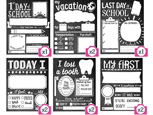 Bobee Milestone Signs Box Set of 10 Photo Props First and Last Day of School Sign Plus Bonus Cards (School Box Days Memory)