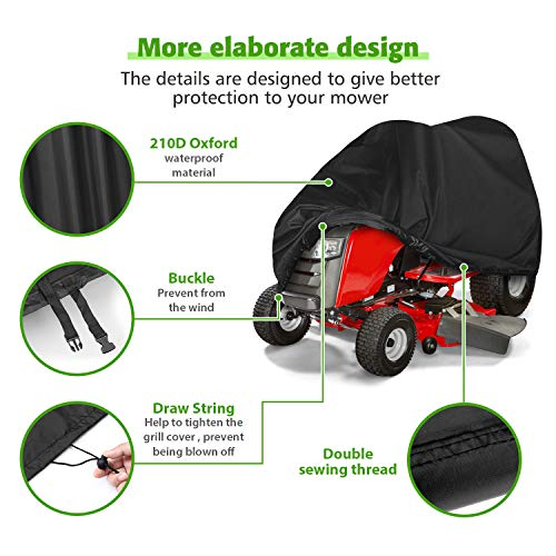 Tvird Lawn Mower Cover, Riding Lawn Mower Cover Waterproof Light-Duty | Features Double Stitched Seams & Interior Waterproof&UV Protection Coating | for Up to 54'' Decks