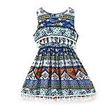acefast inc toddler - ACEFAST INC Baby Girls Ethnic Style Floral Skirt Sleeveless Sundress Tassels Dress