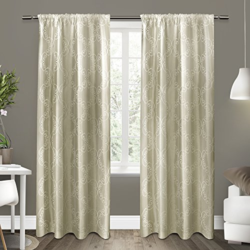 Exclusive Home Curtains Como Rod Pocket Window Curtain Panel Pair, Wheat, 54x84 (Scroll Rod Pocket Curtain)