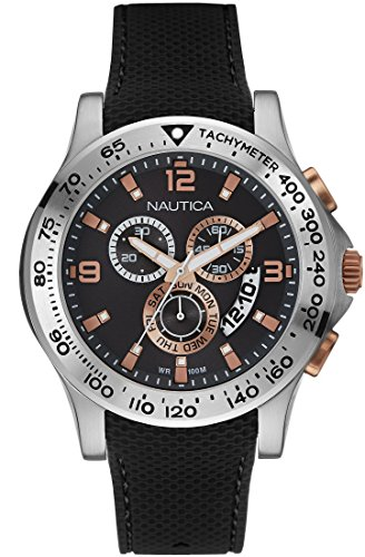 Nautica NAI19504G Stainless Steel Case Black Silicone Mineral Men's Watch