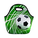 Soccer Printed Kids Boys Lunch Bags Box Lunch Bag for Mens Womens Neoprene