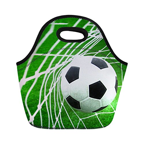 Soccer Printed Kids Boys Lunch Bags Box Lunch Bag for Mens Womens Neoprene by CHAQLIN