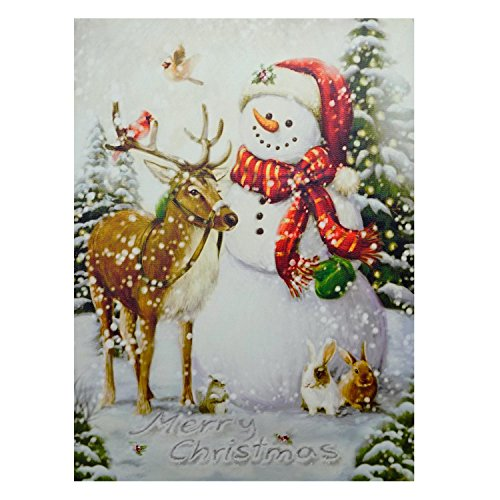 Northlight Seasonal 15.75 in. x 12 in. LED Lighted Vintage Inspired Snowman and Reindeer Christmas Canvas Wall Art