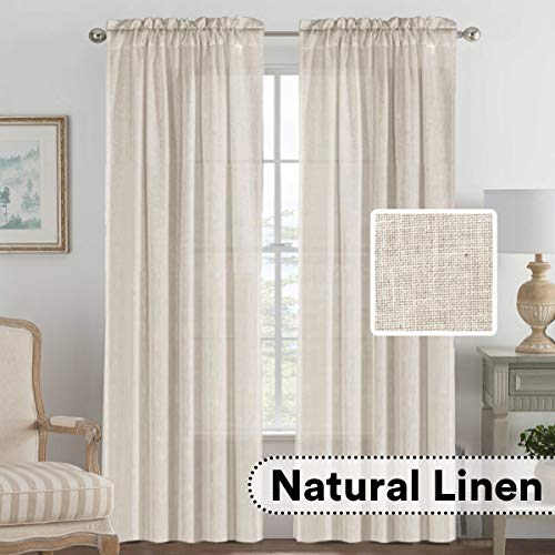 - H.VERSAILTEX Pair Set Natural Linen Blended Window Treatment, Rod Pocket Top Premium Soft Rich Light Reducing Curtain Panels for Living Room - 52x84-Inch-Angora