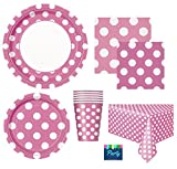 polka dot party supplies - Hot Pink Polka Dot Deluxe Party Supplies Pack for 16 Guests Including - Lunch Plates, Dessert Plates, Cups, Napkins and Table Cover