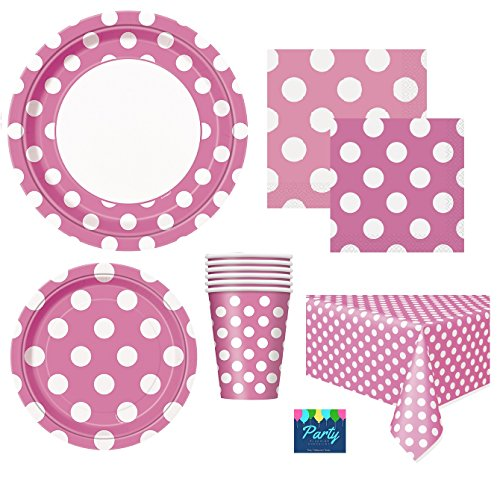 Hot Pink Polka Dot Deluxe Party Supplies Pack