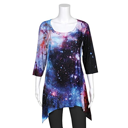 CATALOG CLASSICS Women's Tunic Top - Galaxy Star Printed 3/4 Sleeve Blouse - XXL