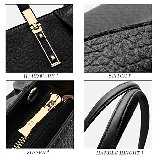 Designer Sale Top Handle 5 Bag Women's Purse Handbag Hobo Bag Ladies Tote Shoulder Clearance Leather Black qSRxdpwB5q
