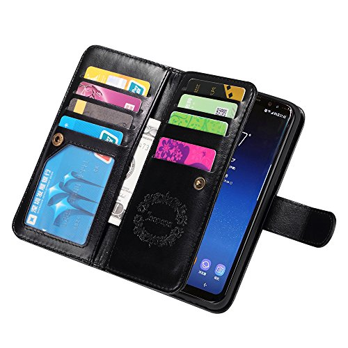 Samsung S8 Case, Joopapa Galaxy S8 Wallet case, Pu Leather Magnet Stand Wallet Credit Card Holder Flip Case Cover Built-in 9 Card Slots Case For Samsung Galaxy S8 (Black)