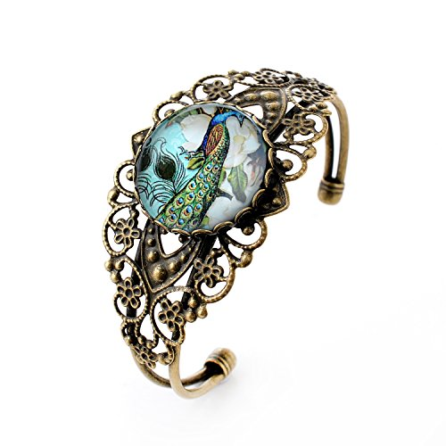 lureme Vintage Jewelry Time Gem Series Peacock Flowers Antique Bronze Hollow Flower Open Bangle Bracelet for Women (06002721)