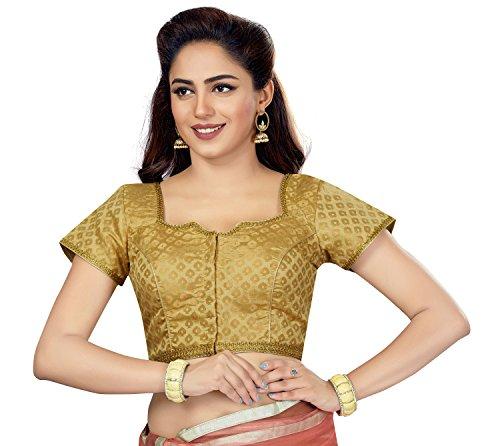 TrendyFashionMall Readymade Gold Silk Saree Blouse SLS02-Gold-XXL-46 by TrendyFashionMall
