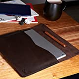 Dark brown Google Pixelbook leather case, Chromebook leather sleeve,laptop leather folio, mens new case with Google Pen holder. // DRAFTSMAN1
