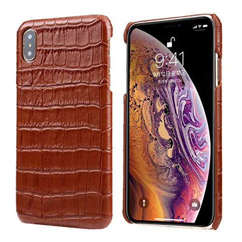 Genuine Leather Protective Case Back Leather Cover with Crocodile Pattern for Apple iPhone Xs Max 6.5 (Brown)