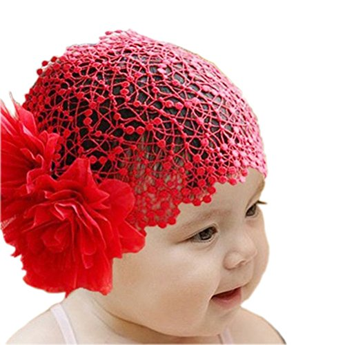 [Arlai Newborn headband Red Flower Toddlers Infant Girl Lace Headwear Hair Band] (Red Girls Hair Band)