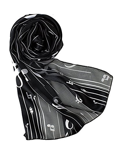 Knitting Factory Women's Fashion Music Note Scarf with Gift Box (Various Patterns, Colors) Made in Korea (Black-ON2005)