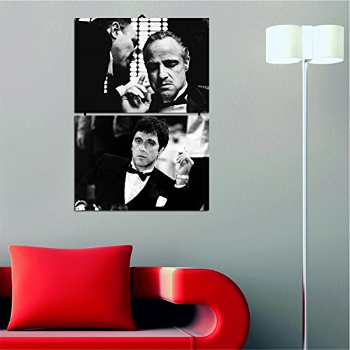 - LaModaHome Best Chosen Wall Arts, Stickers and Metal Wall Sculptures (Wall Art - Godfather and Scarface, Mafia, Black and White)