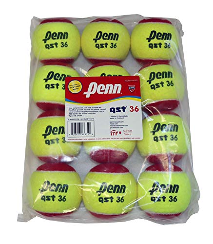 Penn QST 36 Tennis Balls - Youth Felt Red Tennis Balls for Beginners, 12 Ball Polybag